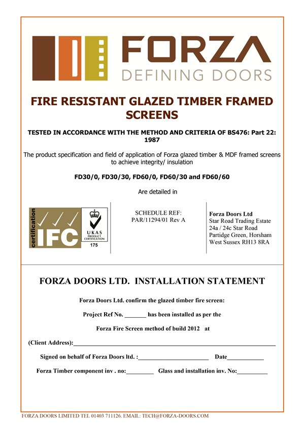 Forza Doors Installation Certificate For Glazed Timber