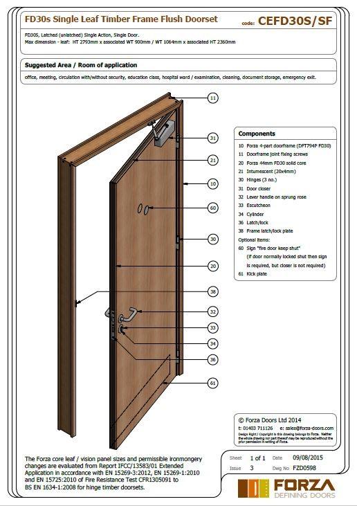 FD30 Single Leaf Timber Frame Flush Doorset  sc 1 st  Forza Doors & Forza Doors   FD30 Single Leaf Timber Frame Flush Doorset pezcame.com