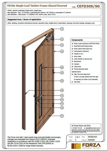 Forza Doors Fd30 Single Leaf Timber Frame Glazed Doorset