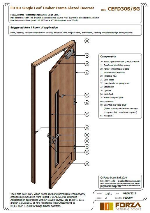 FD30 Single Leaf Timber Frame Glazed Doorset  sc 1 st  Forza Doors & Forza Doors | FD30 Single Leaf Timber Frame Glazed Doorset pezcame.com