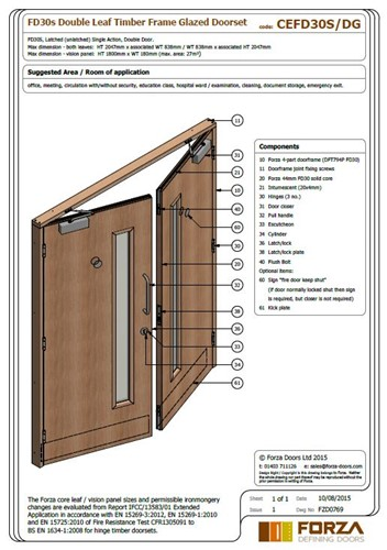 Forza Doors | FD30 Double Leaf Timber Frame Glazed Doorset