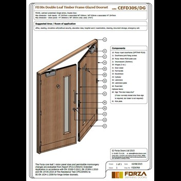Forza doors fd30 double leaf timber frame glazed doorset for Double glazed door and frame