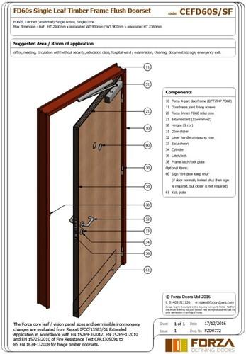 Forza Doors Fd60 Single Leaf Timber Frame Flush Doorset