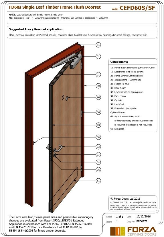 FD60 Single Leaf Timber Frame Flush Doorset  sc 1 st  Forza Doors & Forza Doors | FD60 Single Leaf Timber Frame Flush Doorset