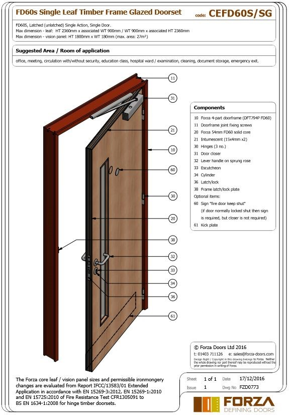 FD60 Single Leaf Timber Frame Glazed Doorset  sc 1 st  Forza Doors & Forza Doors | FD60 Single Leaf Timber Frame Glazed Doorset