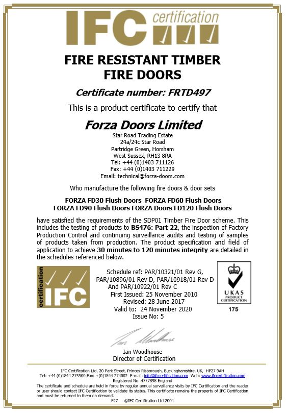 Forza Doors   IFCC Fire Certificate Number FRTD497