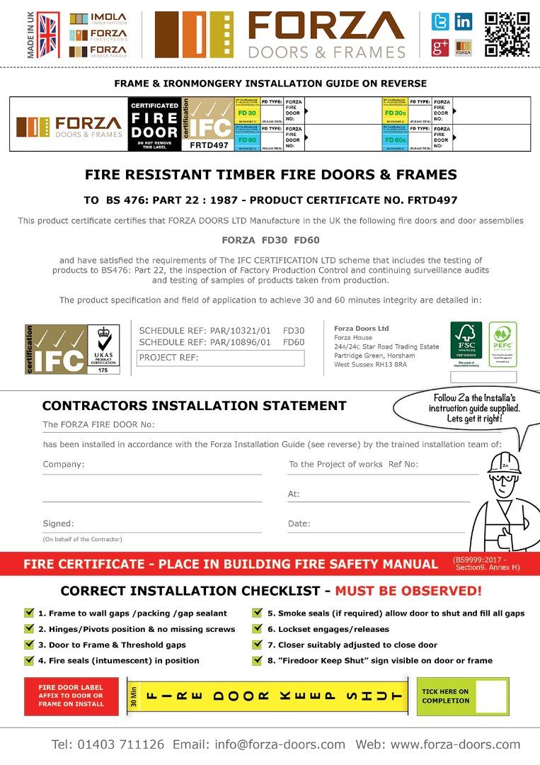 Forza Doors Fire Certificate Contractors Statement